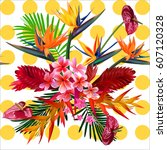seamless pattern of tropical ... | Shutterstock .eps vector #607120328