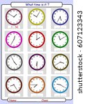 telling the time  draw the time | Shutterstock .eps vector #607123343