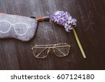 clear stylish eye glasses  case ... | Shutterstock . vector #607124180