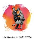 private dancers. couple dancing.... | Shutterstock .eps vector #607126784