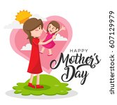 isolated cute happy mother's... | Shutterstock .eps vector #607129979