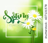 spring time on background with... | Shutterstock .eps vector #607131578