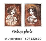vintage photo. watercolor... | Shutterstock . vector #607132610
