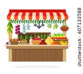 street wooden vegetable kiosk... | Shutterstock .eps vector #607133588
