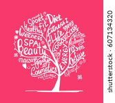 art tree with healhty lifestyle ... | Shutterstock .eps vector #607134320
