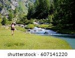 mountain walking in a beautiful ... | Shutterstock . vector #607141220