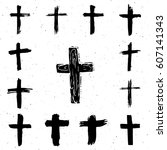 grunge hand drawn cross symbols ... | Shutterstock .eps vector #607141343