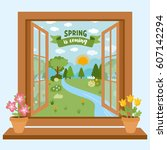 the spring time greeting card... | Shutterstock .eps vector #607142294