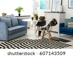 modern interior on light... | Shutterstock . vector #607143509