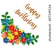 happy birthday greeting card... | Shutterstock . vector #607149116