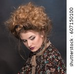 Small photo of vintage model girl looking like Alice in Wonderland