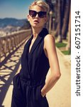 beautiful fashionable young... | Shutterstock . vector #607151714