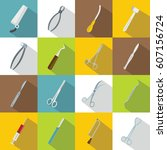 surgeons tools icons set. flat... | Shutterstock .eps vector #607156724