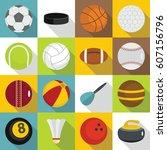 sport balls icons set. flat... | Shutterstock .eps vector #607156796