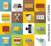 construction materials icons... | Shutterstock .eps vector #607156886