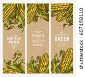 corn on the cob vintage banners ... | Shutterstock .eps vector #607158110