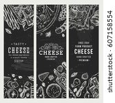 cheese banner collection.... | Shutterstock .eps vector #607158554