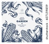 corn on the cob vintage design... | Shutterstock .eps vector #607159859