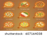 set of italian pizza on cutting ... | Shutterstock .eps vector #607164038