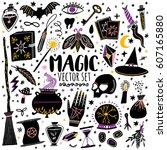 vector magic icon hand drawn... | Shutterstock .eps vector #607165880