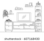 linear sketch of the interior.... | Shutterstock .eps vector #607168430