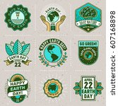 earth day signs logotypes.... | Shutterstock .eps vector #607168898