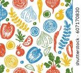 fresh vegetables seamless...   Shutterstock .eps vector #607170830