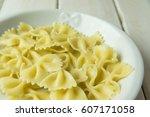 boiled italian pasta on the... | Shutterstock . vector #607171058