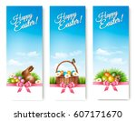 three banners with easter... | Shutterstock .eps vector #607171670