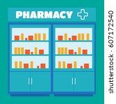 male pharmacist in a pharmacy... | Shutterstock . vector #607172540