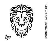 leo in black flat tribal style...   Shutterstock .eps vector #607174184