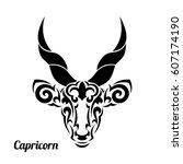 capricorn in black flat tribal...