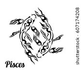 pisces in black flat tribal... | Shutterstock .eps vector #607174208