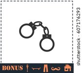 handcuffs icon flat. simple... | Shutterstock . vector #607176293