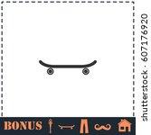 skateboard icon flat. simple... | Shutterstock . vector #607176920