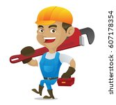 handyman carrying adjustable... | Shutterstock .eps vector #607178354
