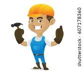 handyman holding hammer... | Shutterstock .eps vector #607178360