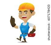 handyman carrying toolbox... | Shutterstock .eps vector #607178420