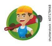 handyman carrying adjustable... | Shutterstock .eps vector #607178468