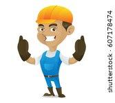 handyman giving thumbs up... | Shutterstock .eps vector #607178474