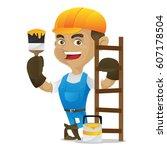 handyman holding paint brush... | Shutterstock .eps vector #607178504