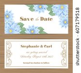 save the date card or wedding... | Shutterstock .eps vector #607179518