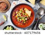 mexican tomato  bean  bell... | Shutterstock . vector #607179656