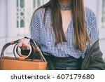 close up fashion details  woman ... | Shutterstock . vector #607179680
