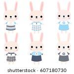 cute pink vector bunnies in... | Shutterstock .eps vector #607180730