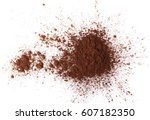 pile cocoa powder isolated on... | Shutterstock . vector #607182350