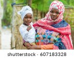 african black woman holding... | Shutterstock . vector #607183328