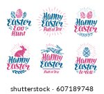 happy easter  label set.... | Shutterstock .eps vector #607189748