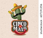 cinco de mayo sombrero  chili... | Shutterstock .eps vector #607191356