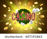 the word casino  surrounded by... | Shutterstock .eps vector #607191863